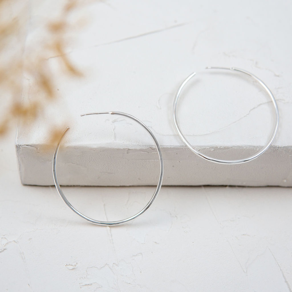 Ova Silver Hoop Earrings