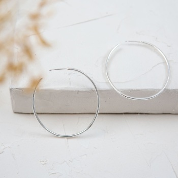 Oval Silver Hoop Earrings