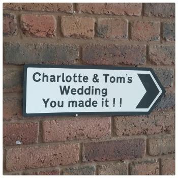 Wedding Road Sign - Lasered Plastic