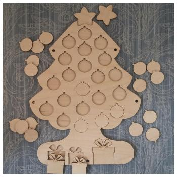 Wooden Christmas Tree Advent Calendar (base included) - 0210