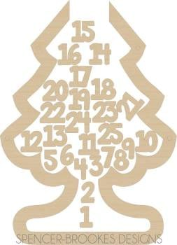 Christmas Tree Drop Top Advent Calendar - Number Tokens (base included) - 0094