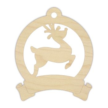 Reindeer Bauble with Scroll - Blank - 0203