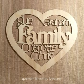 Personalised Family Names Heart - 0198
