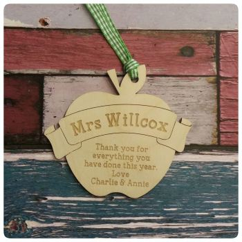 Engraved Wooden Teacher's Apple with Banner