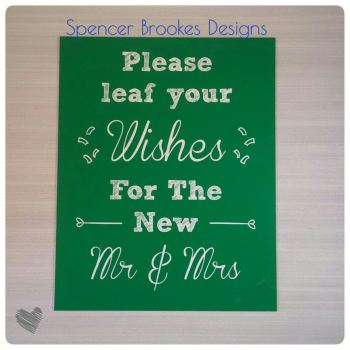 Please LEAF Your Wishes for the New Mr & Mrs Chalkboard - Personalised Horseshoe - Text across the centre - 0327