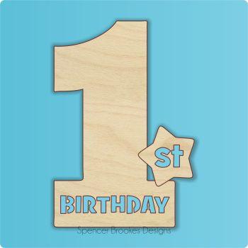 15cm Birthday Number Cutout - 1st Brithday