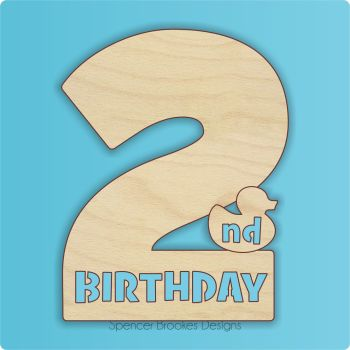 15cm Birthday Number Cutout - 2nd Brithday