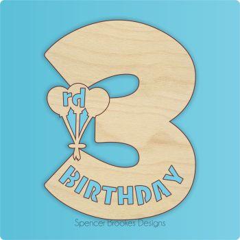 15cm Birthday Number Cutout - 3rd Brithday