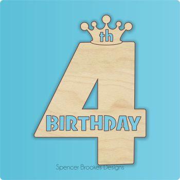 15cm Birthday Number Cutout - 4th Brithday