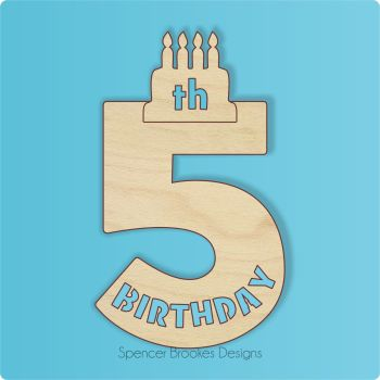 15cm Birthday Number Cutout - 5th Brithday