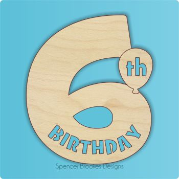 15cm Birthday Number Cutout - 6th Brithday