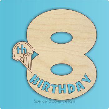 15cm Birthday Number Cutout - 8th Brithday