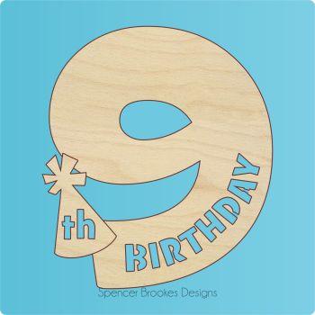 15cm Birthday Number Cutout - 9th Brithday
