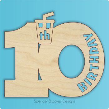 15cm Birthday Number Cutout - 10th Brithday