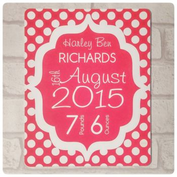 Birth Announcement Plaque - Engraved Plastic New Baby Sign