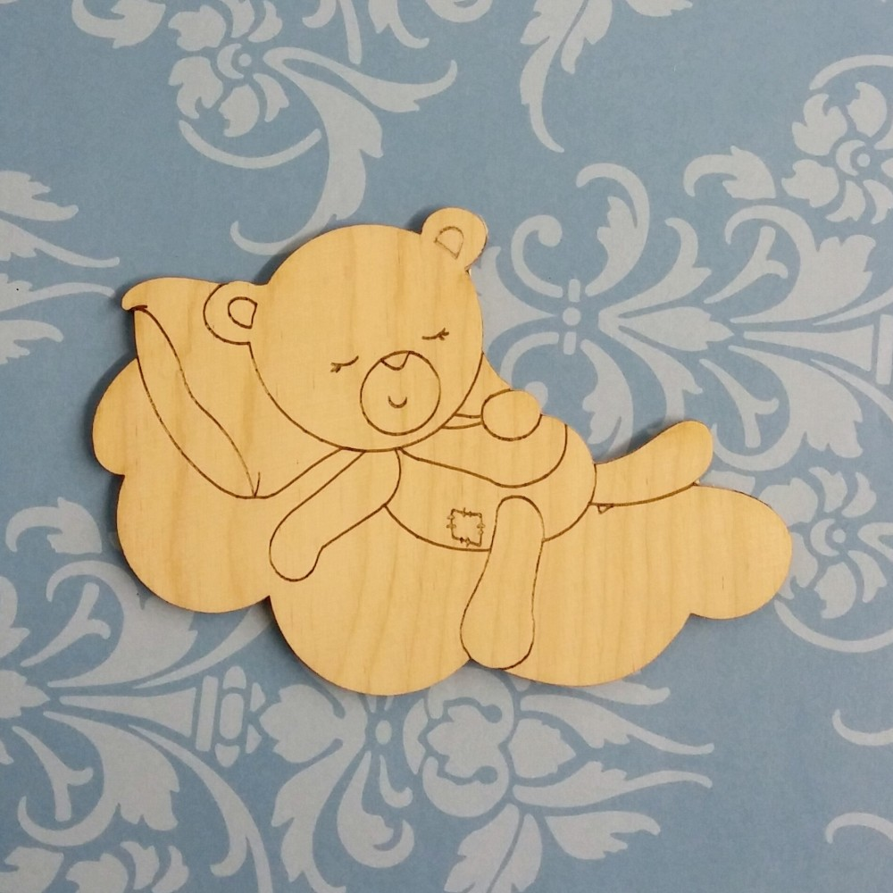 Sleeping Teddy Shape Laser Cut Wooden Shapes And Craft
