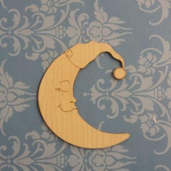 Sleepy Moon Laser Cutout - 0292