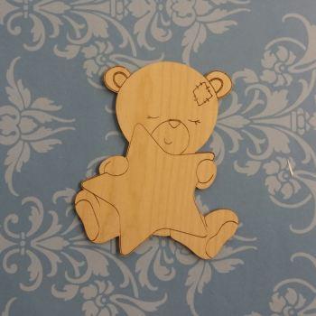 Sleepy Teddy Bear Holding on to a Star - Wooden Embelishment - 0291