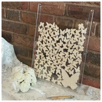 Drop Top Laser Cut Guest Book - ACRYLIC Back and Front