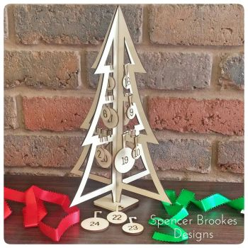 Wooden 3D Advent Tree with Hanging Baubles