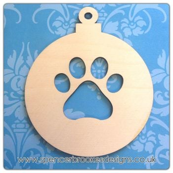 Bauble with Paw Print Cutout - 0309