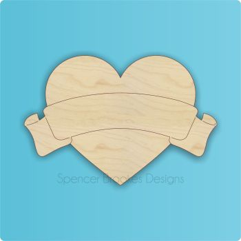 Laser Cut Heart With Banner - 0347