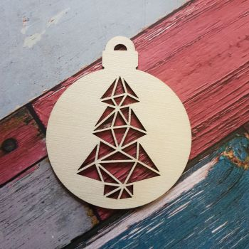 Christmas Bauble with Geometric Tree Cutout - 0452