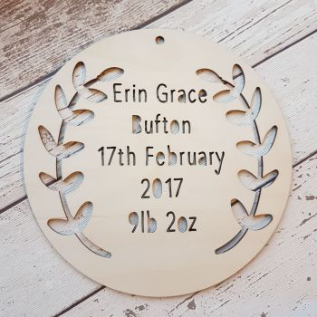 Personalised Christening Gift - Circular Birth Details Plaque - 0457