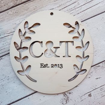 Personalised Wedding Gift - Circular Initials Plaque - Leaves Detail - 0459
