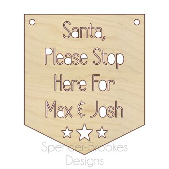 Santa Stop Here Flag - PERSONALISED - 0469
