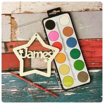Party Bag Craft Kit - Laser Cut Heart Name + Paints - 0254