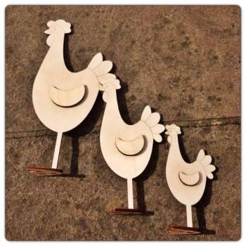 Freestanding Laser Cut Chickens - 0243