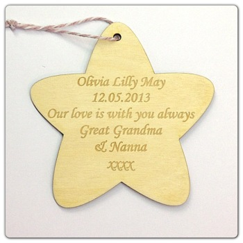 Laser Engraved Baby Star - 0004