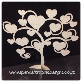 Heart Tree With Base - Engraved - 0180