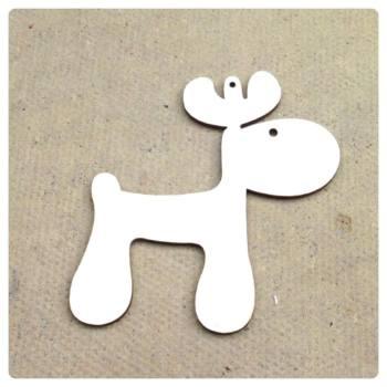 Laser Cut Chubby Reindeer Shape Decoration - 0089
