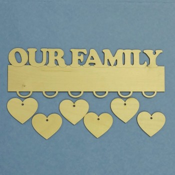 Our Family Hanger Plaque - With Hearts