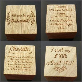 Personalised Solid Wood Bridesmaid Wedding Blocks