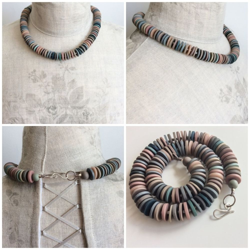 Medium disc necklace collage grey, blue, pink