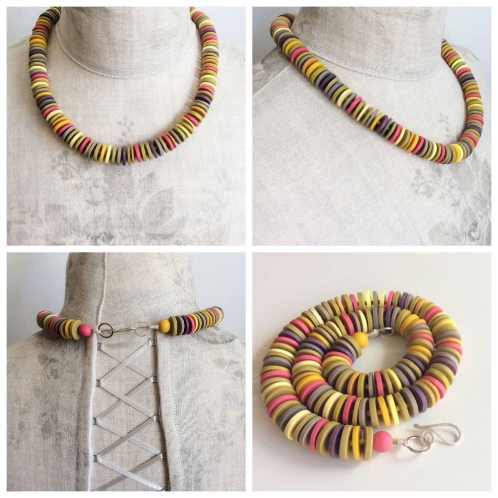 Medium disc necklace collage yellow, pink, grey