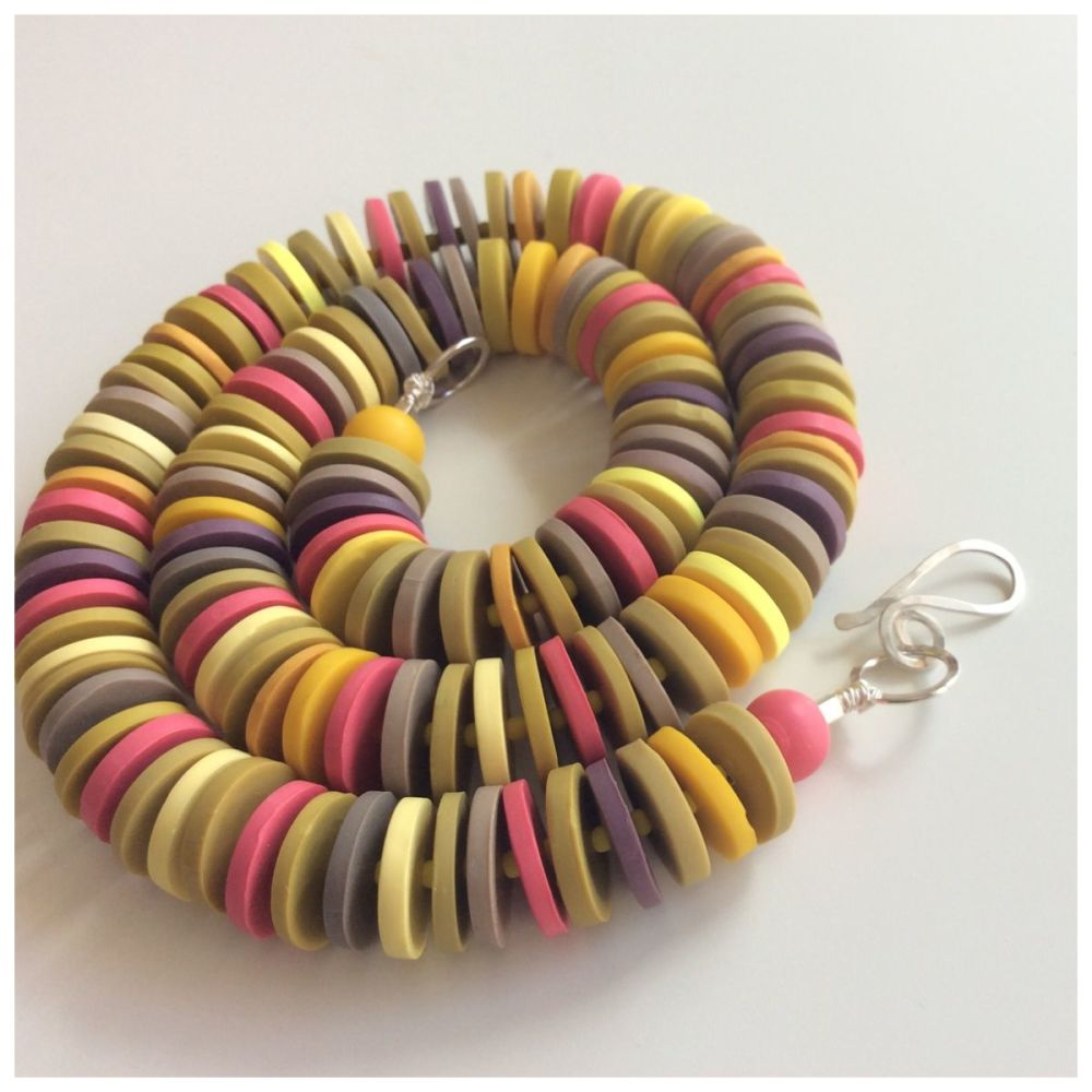 Medium Disc Necklace in Yellow, Coral and Grey