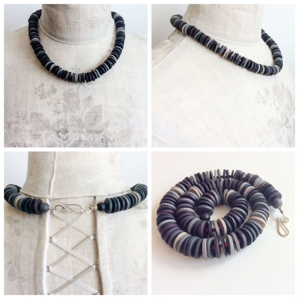 Medium disc necklace collage black and grey
