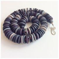 Medium Disc Necklace in Dark Greys and Black