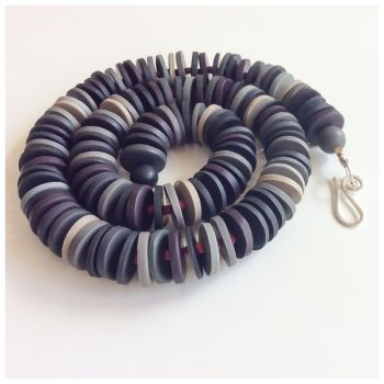 Medium Disc Necklace in Dark Greys and Black