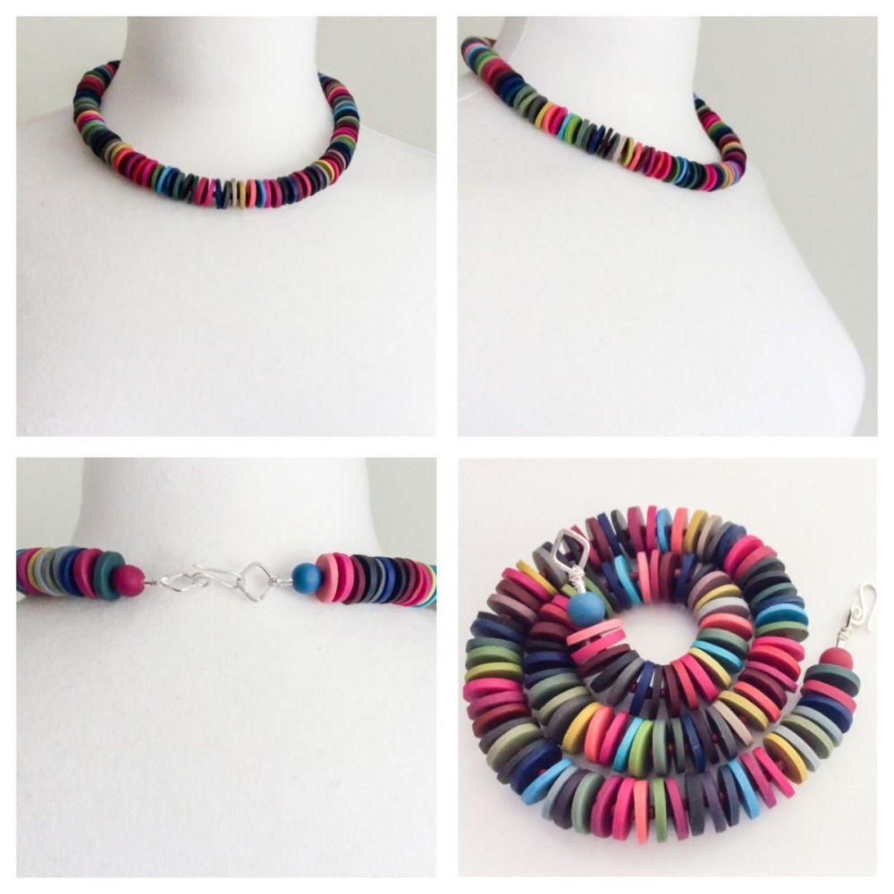 Medium disc necklace dark multi colours collage