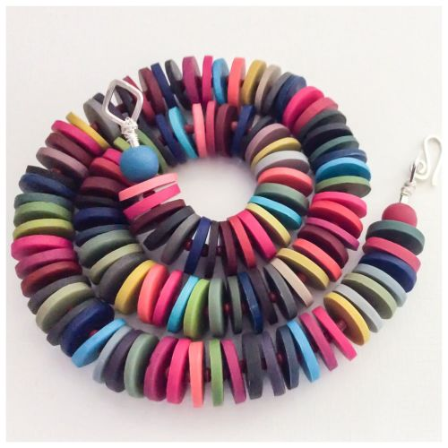 Medium Disc Necklace in Autumnal Multi Colours Colours