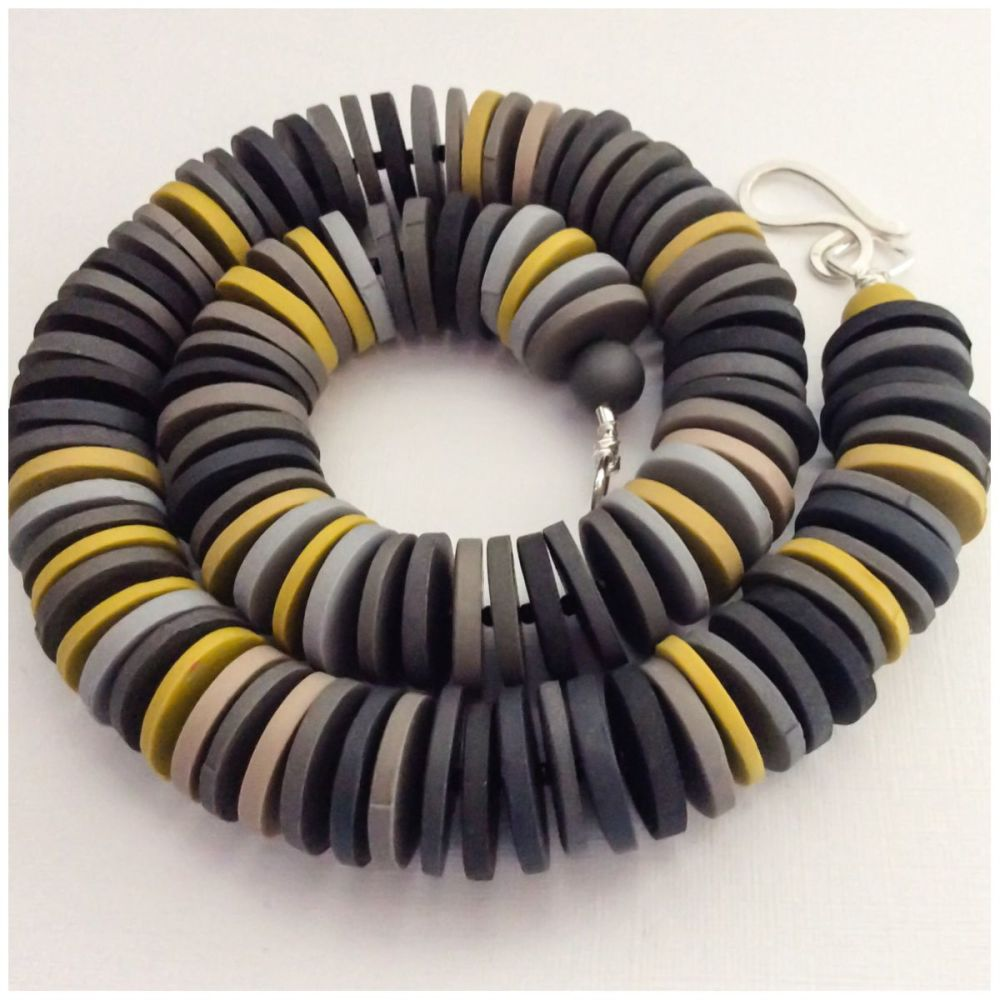 Large Disc Bead Necklace in Grey and Mustard