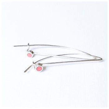 Colour Dot Sterling Silver Wire Circle Earrings Red