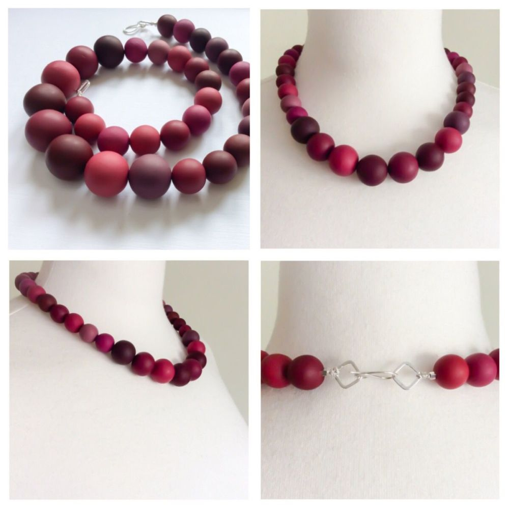 Graduated bead necklace in blackberry collage