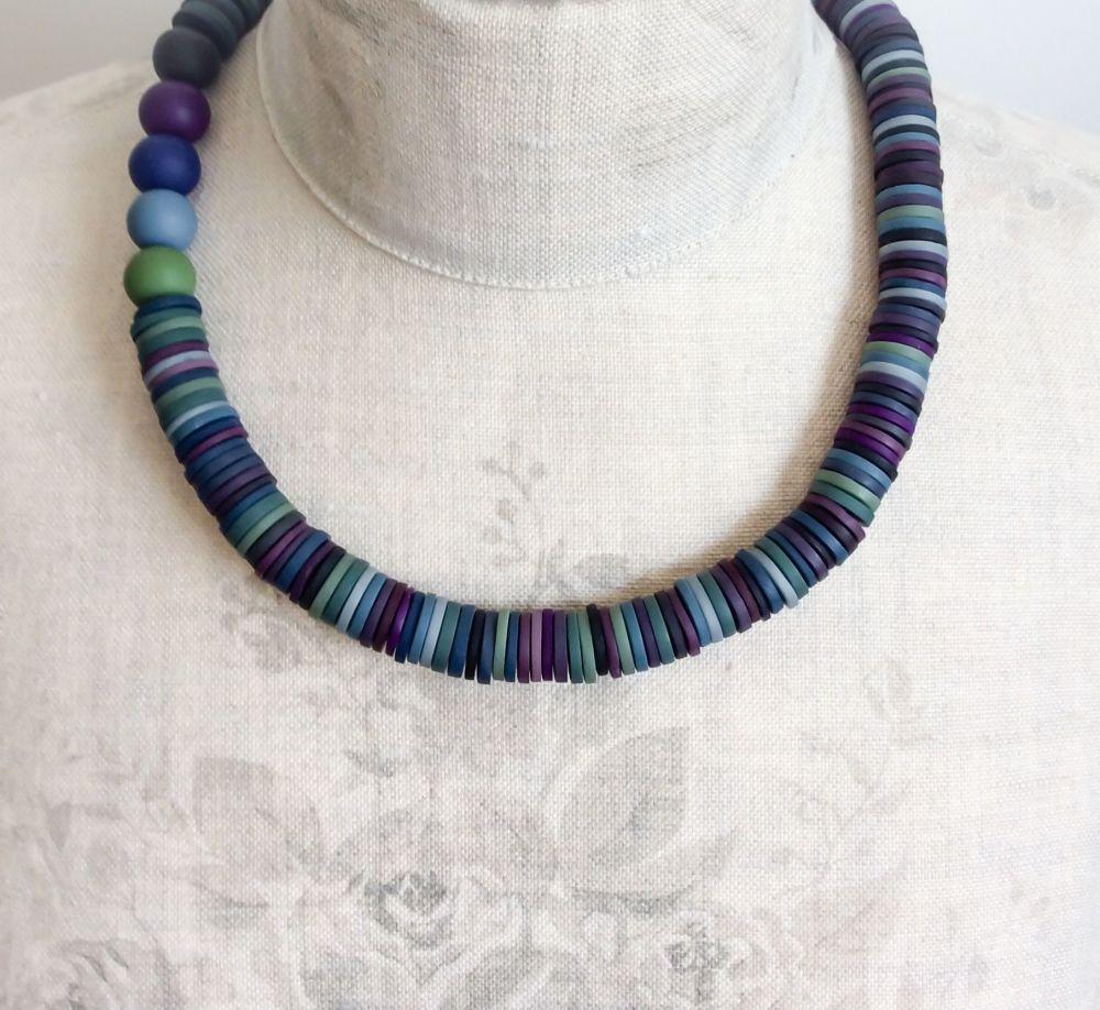 Asymmetrical Disc Necklace in Indigo Blue