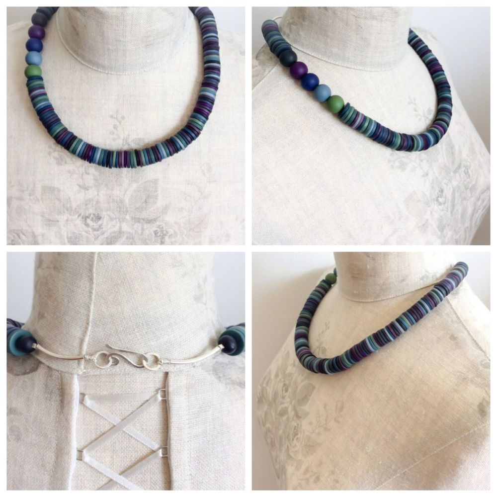 Asymmetric necklace indigo blue collage